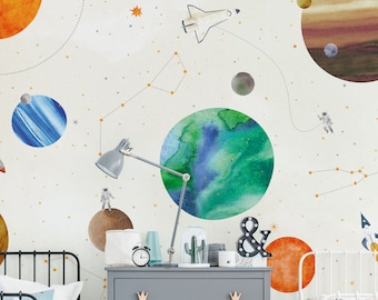 Space Mural Kids Wallpaper, White, Space Wall Art, Peel and Stick Wall Mural