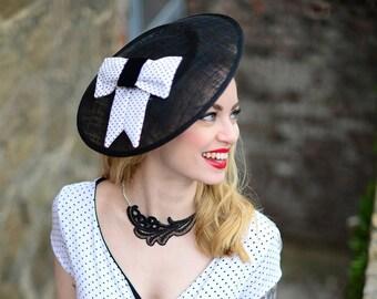 Black Ladies Hat, Fascinator, Vintage Style, 50s, Big Hat, Maid of Honor, Mother of the Bride, Wedding, Guest, Elegant Hat, New Look Hat.
