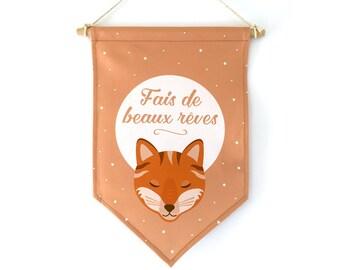 Fanion décoratif, renard, cadeau naissance, cadeau bébé, cadeau personnalisable