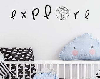 Explore Globe | Love Inspirational Goals Family Baby Nursery Kids Children's Bedroom Playroom | Removable Vinyl Wall Sticker