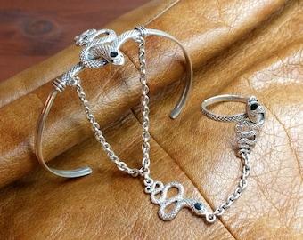 Nostalgic hand jewellery bracelet/ring slave Bangle SA197