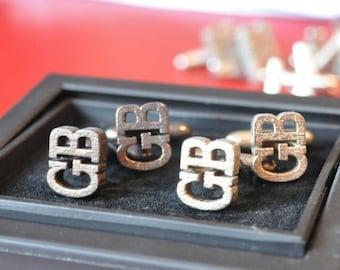 Monogram Cufflinks in stainless steel - nickel colour, Customized cufflinks, Custom Monogram Cufflinks, Fathers Day Gift, Groom cufflinks.