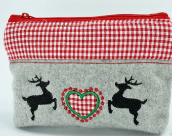 Make-up bag or pouche with a heart-deer application for Oktoberfest,  bavarian style