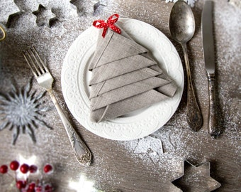 Natural Linen Cloth Napkins Set of 12 perfect for Dining table - Christmas gift