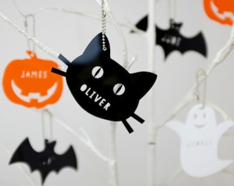 Acrylic Halloween Decorations - Personalised Halloween Decorations - Halloween Gift - Spooky Gift - Ghosty - Ghost Decoration - Black Cat