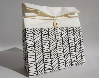 Mens lunch bag, Gray lunch bag for women, Zero waste reusable sandwich bag, Adult lunch bag for men, Bag with stripes, Sac a lunch