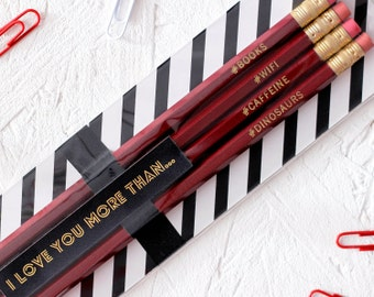 LOVE HASHTAG PENCILS Set Valentines Love You More Than Red Stationery Gift For Him Her Anniversary Funny Science Card Alternative Wifi Books
