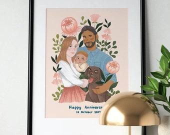 Personalized Family Portrait / Custom Family Illustration/ Family and Pet Portrait/ Couple Portrait/ Printable/ Digital File