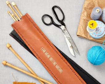 Knitting Needle Holder- Personalized Case- Gift for Knitters- Personalised Leather Gifts