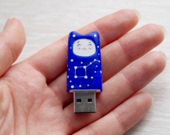 USB flash drive 8 Gb, 16 gb, kawaii blue cat, cat with constellation big dipper, back to school , cobalt cat usb flash
