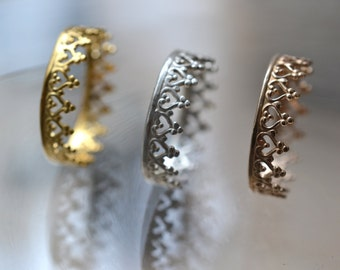 """Plated crown ring, wedding ring. engagement band. """"There is no queen without a crown""""  vermeil .  22k gold over silver"""