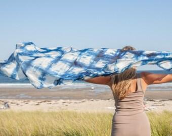Blue and white silk scarf / blue checkered silk shawl   /  large blue and white checkered silk veil / Hand dyed / 100% habotai silk
