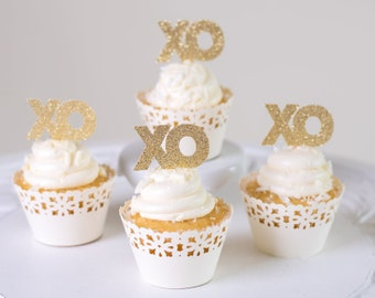 XO Cupcake Toppers (set of 12) for Wedding/Valentine's Day