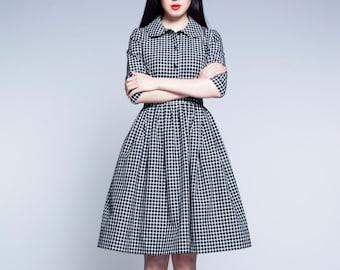 Gingham Dress, Peter Pan Collar Dress, 1950's Dress, Midi Dress, Modest Dress, Flare Dress, Shirt Dress, Collar Dress,Retro Dress,Full Skirt