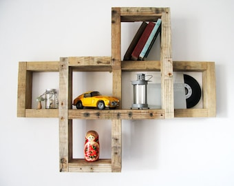 ROHAN gross recycled pallet wood wall shelf