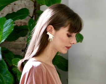 Gold Vermeil or Sterling Sillver Statement Studs Earrings Jewelry Asymmetrical Earrings