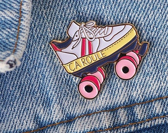 Roller Derby enamel pins white and pink