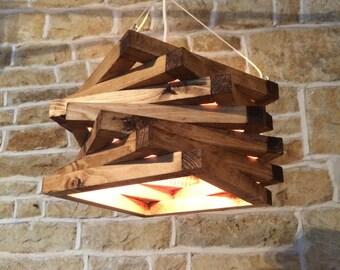 rustic wood light, rustic ceiling light, wood light fixture, rustic light pendant, spiral lamp shade, rustic lighting,