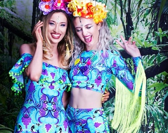 Tribal Tails Lycra Festival Off The Shoulder Pom Pom Frill Playsuit. Mexican Style Bardot Bodysuit