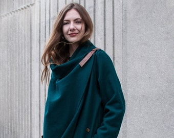 Dark Green Cashmere Coat With Wraparound Collar And Genuine Leather Pockets / Contemporary Boho Glam Wrap Jacket Oversized Draped Collar