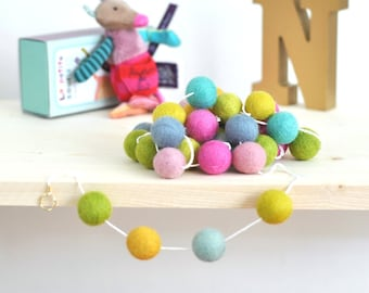 Pom Pom Garland - Felt Ball Garland - Colorful Nursery Decorations