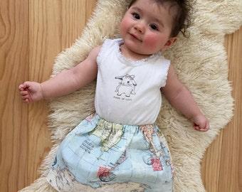 Kinder/ Mädchen/ Baby Rock // All around the globe - Weltkarte, Rock, Reisen, Kinderbekleidung