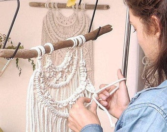 Macrame KIT Weave Wall Hanging DIY Including Driftwood + Cotton Rope || Advanced Pattern || Womens Gift for Her || Creative Wall Art,