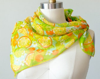 50% OFF CLEARANCE / 1960s vintage scarf / orange fruit patterned chiffon scarf