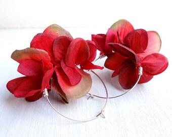 Deep Red Petal Earrings, Dark red rose color hoop earrings / Beads silver tone Nickel free hoops