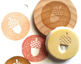 acorn rubber stamp | botanical hand carved stamp | diy woodland christmas + autumn crafts