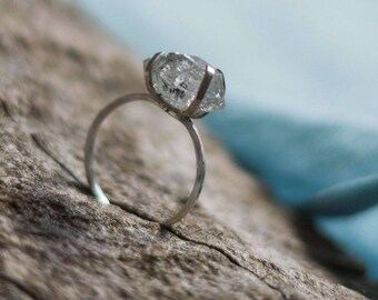 Minimalist diamond ring, herkimer diamond crystal sterling silver ring, rough quartz ring, solid silver vanity ring, skinny ring