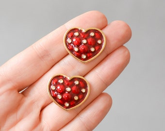 Vintage heart earrings rhinestones Valentine's day fashion ruby poppy red enamel jewelry costume gold ear clip ons