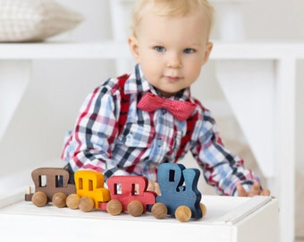 Train Gift for Boy - Gift for Toddler Gift - Wooden Train Set - Train Toddler Toy - Train Push Toy - Montessori Toy - Christmas Gift Train
