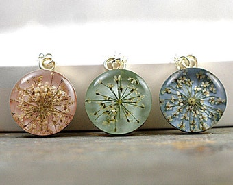 Delicate silver necklace with real dried Queen Annes lace flowers. Pastel blue/pink/green. Choose your color! Gift for her.