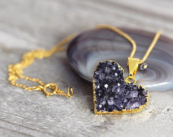 Black Heart Necklace - Druzy Heart Pendant - Valentines Day Gift - April Birthstone - Druzy Jewellery - Gift For Girlfriend