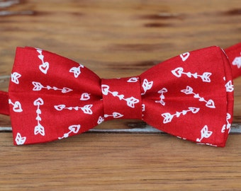 Men's heart bow tie | red white arrow heart cotton bow tie for men teen | bow tie gift for guy | anniversary bow tie | wedding | love gift