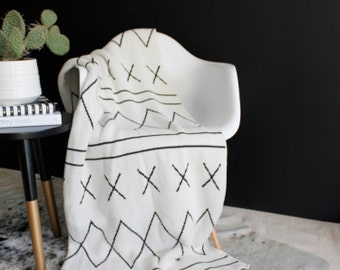 Moroccan Inspired Cotton Knitted Throw Blanket, boho modern- The Moroccan - Charcoal and Ivory - Made with 80% Regenerated Cotton Fibers