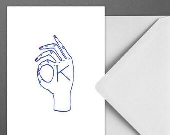 Postkarte OK / Hand, Okay, Card, Postcard, Greeting Card, Envelope, Present, Message, Letter