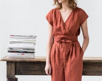 Wrap linen jumpsuit / Washed long linen overall / Linen romper