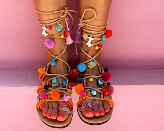 "Pom Pom Sandals, Greek Sandals, Lace Up Gladiator Sandals, Decorated sandals, Boho sandals, Handmade to order sandals ""Hawaii"""