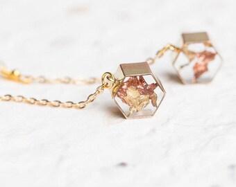 Floating Gold Leaf Long Modern Statement Earrings Geometric Hexagon Transparent Minimalist OOAK