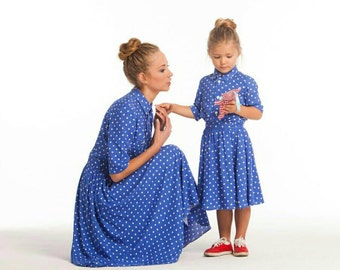 Cotton Matching Mother daughter matching dresses, Different colors Midi Mommy and me polka dots outfit Dress for mother and daughter