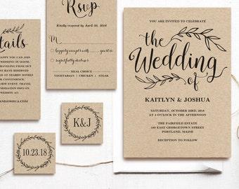 Vintage Wedding Invitation Template, Rustic Wedding invitation Set, Printable Wedding Invitation, Kraft  Invitation Set, Editable Text, VW01