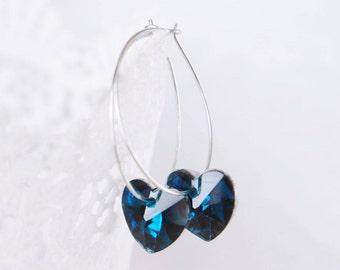 Blue Heart Earrings Valentine day gift Crystal Heart Sapphire Earrings September Jewelry Drop Earrings Romantic Jewelry Mothers day gift mom