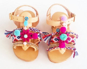 Girls Pom Pom sandals ''Sugar Cherry'' |  Girls sandals | Kids Bohemian sandals | Baby Boho sandals | Girls Boho sandals | Handmade sandals