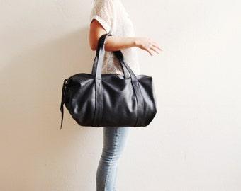Schwarz Leder Reisetasche Frauen schwarz Seesack weiches Lederumhängetasche | Damen Reisetasche | Die Weekender Tasche in schwarz