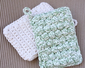 Crochet Cotton Sponges, Pack of 2, Reusable Sponges, Cotton Sponges, Eco-friendly Sponges, Handmade Sponges, 3 Layers Thick, ThinkArtisan