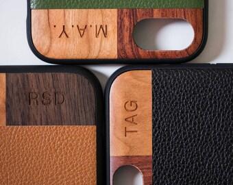 Monogram iPhone 7 Leather Case, iPhone 6/6 Plus/7 Case With Leather, Wood iPhone Monogram Case