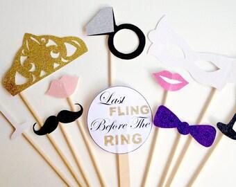 10 Stück-Henne Partei Photobooth Prop Set - Bachelorette, Hochzeit, Schleudern Henne Glitter Photo Booth Requisiten - Last vor dem Ring