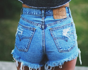 Vintage LEVI'S denim shorts with high rise * Handmade blue jeans cut offs with rips * ALL SIZES